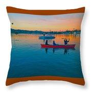 Havasu Canoe Ride At Sunrise Throw Pillow