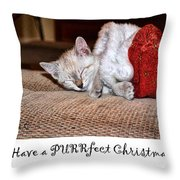 Have A Purrfect Christmas Throw Pillow