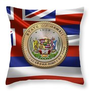 Hawaii Great Seal Over State Flag Throw Pillow