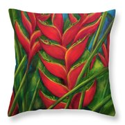 Hawaii Heliconia Flowers #445 Throw Pillow