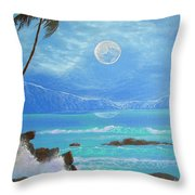 Hawaii Night Seascape Throw Pillow