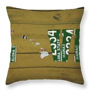 Hawaii State Love License Plate Art Phrase Throw Pillow