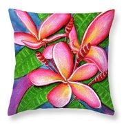 Hawaii Tropical Plumeria Flower #243 Throw Pillow