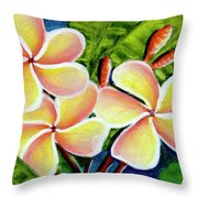 Hawaii Tropical Plumeria  Flower #314 Throw Pillow