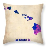 Hawaii Watercolor Map Throw Pillow by Naxart Studio
