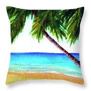 Hawaiian Beach Palm Trees  #425 Throw Pillow