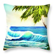 Hawaiian Beach Wave #420 Throw Pillow