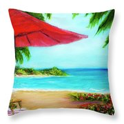 Hawaiian Beach Wave Art Print Painting #441 Throw Pillow