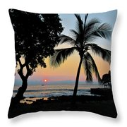 Hawaiian Big Island Sunset  Kailua Kona  Big Island  Hawaii Throw Pillow