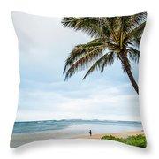 Hawaiian Boy Fishing Throw Pillow