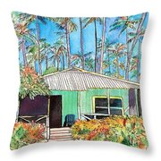 Hawaiian Cottage I Throw Pillow