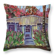 Hawaiian Cottage With Pink And Red Tropical Flowers Throw Pillow
