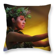 Hawaiian Dancer And Firepots Throw Pillow