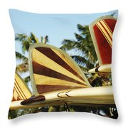 Hawaiian Design Surfboards Throw Pillow by Vince Cavataio - Printscapes