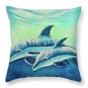 Hawaiian Dolphins  #389 Throw Pillow