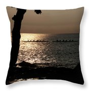 Hawaiian Dugout Canoe Race At Sunset Throw Pillow