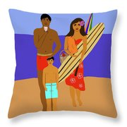 Hawaiian Family Beach Scene Throw Pillow