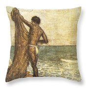 Hawaiian Fisherman Painting Throw Pillow