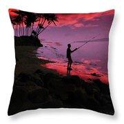 Hawaiian Fishing On Halama Beach At Sunset Throw Pillow