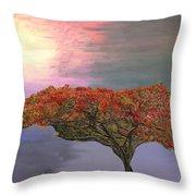 Hawaiian Flame Tree Throw Pillow