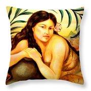 Hawaiian Girl Throw Pillow