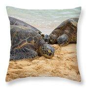 Hawaiian Green Sea Turtles 1 - Oahu Hawaii Throw Pillow