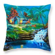 Hawaiian Hut And Waterfalls Throw Pillow