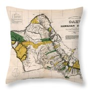 Hawaiian  Islands Map 1881 Throw Pillow