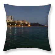 Hawaiian Lights - Waikiki Beach And Diamond Head Volcano Crater Throw Pillow