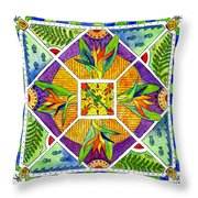 Hawaiian Mandala II - Bird Of Paradise Throw Pillow
