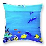 Hawaiian Reef Fish Nimo #193 Throw Pillow