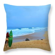 Hawaiian Surfer Girl Throw Pillow