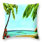Hawaiian Tropical Beach #367  Throw Pillow