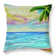 Hawaiian Tropical Beach #408 Throw Pillow