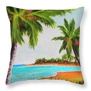 Hawaiian Tropical Beach #429 Throw Pillow