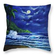 Hawaiian Tropical Ocean Moonscape Seascape #377 Throw Pillow