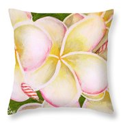 Hawaiian Tropical Plumeria Flower #483 Throw Pillow