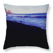 Hawaiin Black Sand Beach Throw Pillow