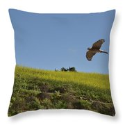 Hawk Flying Over Field Of Yellow Mustard Throw Pillow