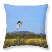 Hawk In Flight Over The Desert Throw Pillow