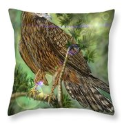 Hawk In The Evergreens Throw Pillow by Darren Cannell