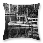 Hawk Island Michigan Dock  Throw Pillow