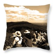 Hawk Mountain In Sepia Throw Pillow