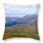 Hawk Soaring Over Guanella Pass In The Arapahoe National Forest Throw Pillow