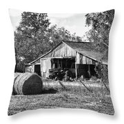 Hay And The Old Barn - Bw Throw Pillow