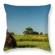 Hay Bale On A Rural Field Throw Pillow
