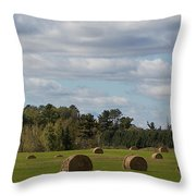 Hay Bale Pano Throw Pillow
