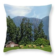 Hay Bales And A Barn - Kalispell Montana Throw Pillow