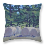 Hay Bales And Crows Throw Pillow