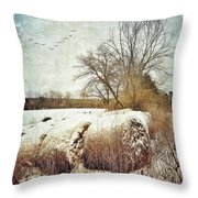 Hay Bales In Snow Throw Pillow